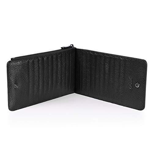 S-ZONE Women's RFID Blocking Genuine Leather Wallet Multi Credit Card Holder with Zipper Pocket Organizer Purse Black (Gift Box)