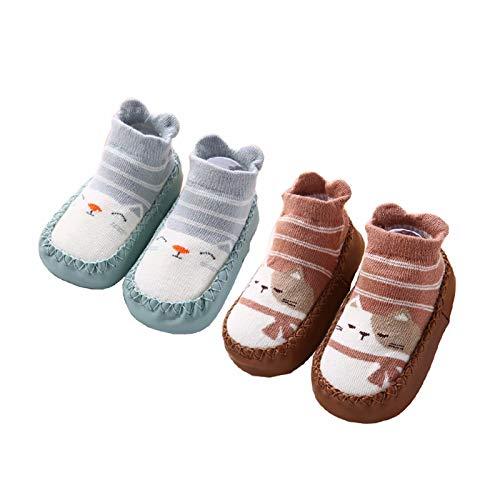 Calcetines Antideslizantes para Bebé Niños Niñas Zapatos Bebe de Primer Paseo 6-12 Meses Light Green/Brown