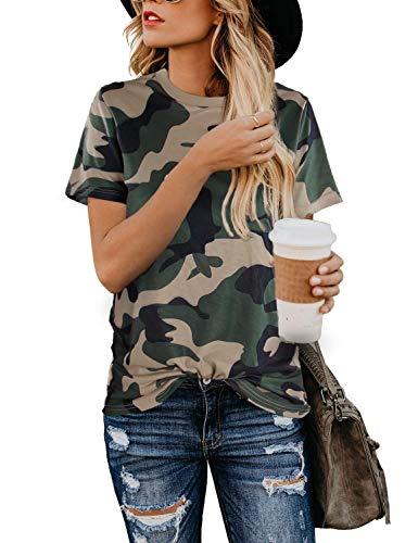 BMJL Camiseta de manga corta con estampado de leopardo para mujer