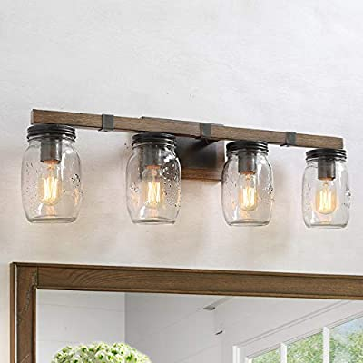 Rustic Bathroom Vanity 4 Light Fixture with Mason Jar Glass, Farmhouse Wall Sconce with Faux-Wood Finish, 29 inches in Length