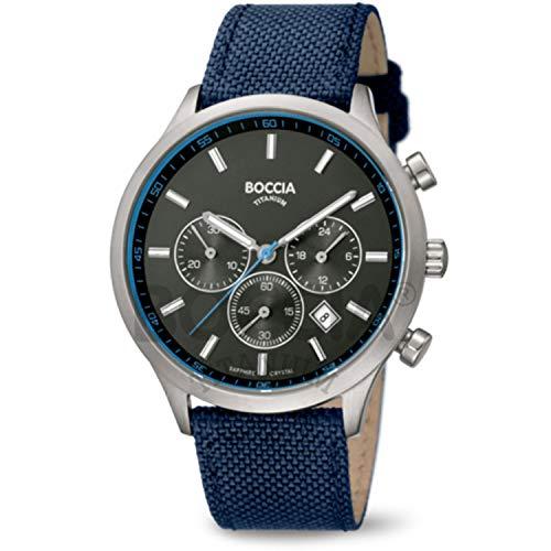 Boccia Herren Chronograph Quarz Uhr mit Leder Armband 3750-02