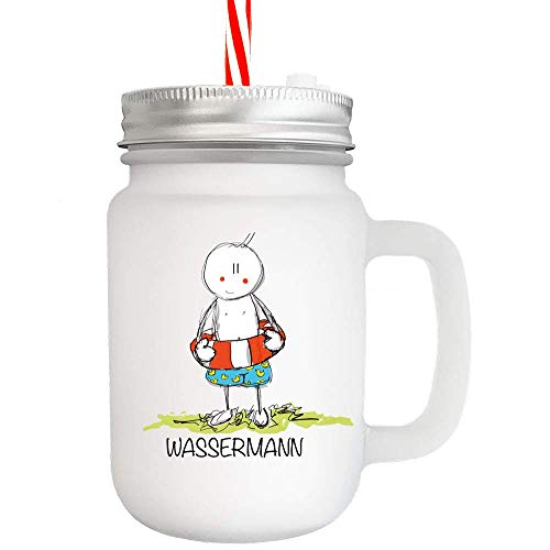Cadouri Mason Jar Trinkglas STERNZEICHEN WASSERMANN┊Henkelglas mit Deckel und Trinkhalm┊tolle Geschenkidee zum Geburtstag