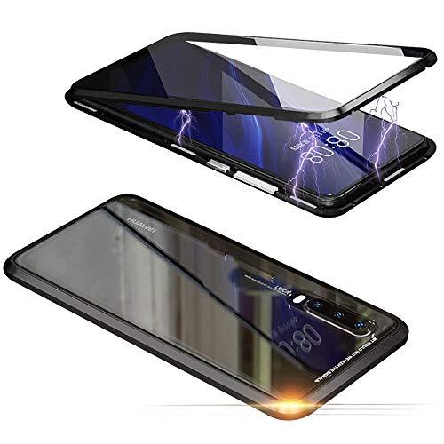 Jonwelsy Hülle für Huawei P30 Pro, Magnetische Adsorption Metall Stoßstange Flip Cover mit 360 Grad Schutz Doppelte Seiten Transparent Gehärtetes Glas Handyhülle für Huawei P30 Pro