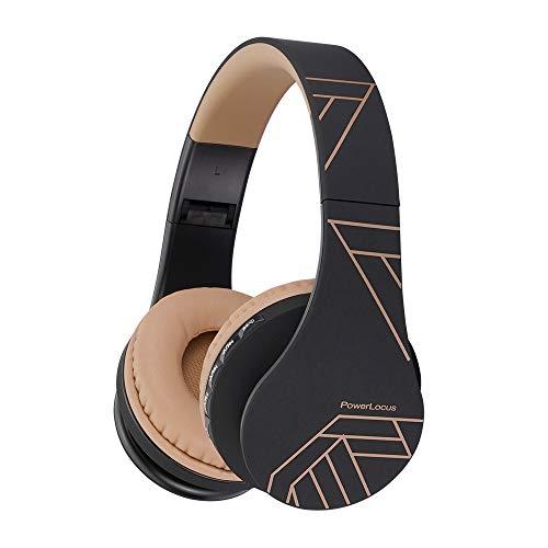 PowerLocus P1 – Auriculares Bluetooth inalambricos de Diadema Cascos Plegables, Casco Bluetooth con Sonido Estéreo con Conexión a Bluetooth Inalámbrico y Audio Cable para Movil,PC, Tablet-Negro/Marrón