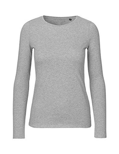 Green Cat - Camiseta de Manga Larga para Mujer, 100% algodón orgánico. Certificado Fairtrade, Oeko-Tex y Ecolabel. Gris Jaspeado XL