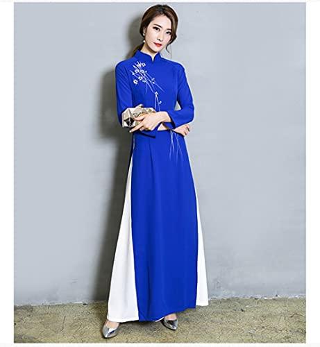 CIDCIJN Vestito Cinese - Elegante Abito Stretto Donna Costumi Tradizionali Cinesi Qipao Ricamo Femminile Abito Cinese Cheongsams, Blu, M