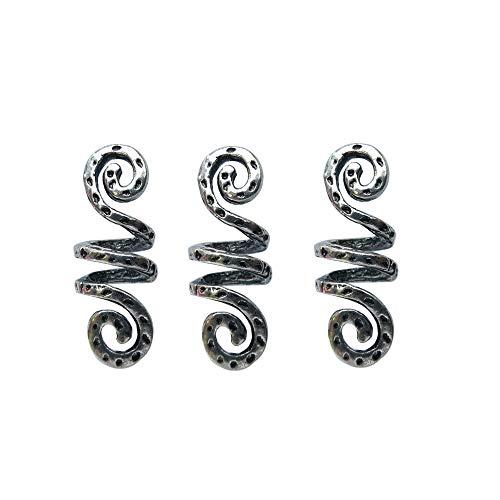 LQQQL Vikings Spiral Hair Beads Rings-Dreadlock Hair Accessories Norse Spiral Hair Coils Spring Beads for Braid Beards Hair Pendants &Bracelets DIY (3 Small pcs)