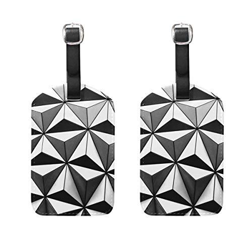 Geometría en blanco y negro, 2 unidades de piel sintética para identificar el equipaje, tarjeta de visita para colgar en la bolsa de viaje, maleta, equipaje