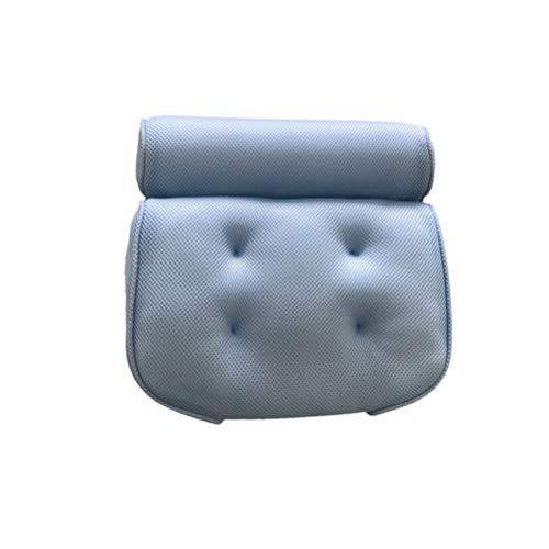 PIXNOR Almohada de Baño Almohada de Bañera Antideslizante con Ventosas Ergonómica Soporte para El Cuello Reposacabezas Almohadas de Spa 6 Ventosas para Baño Salón de Belleza (Azul)