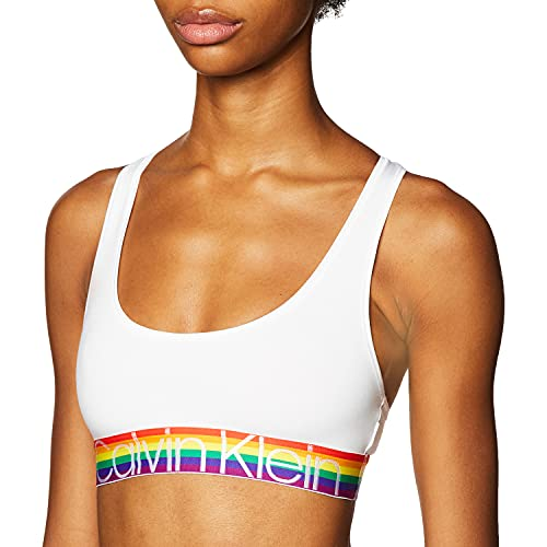 Calvin Klein Bralette de algodón moderno para mujer, Rainbow blanco, S