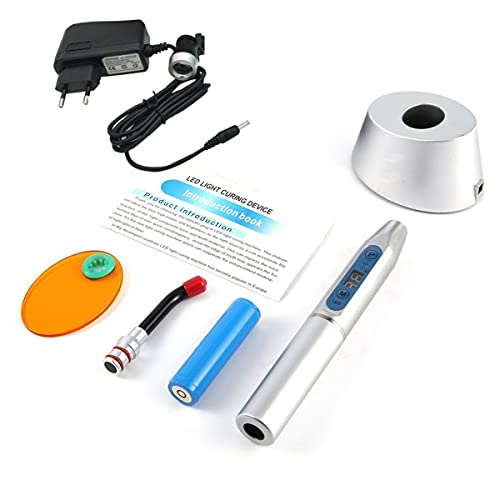 Luz fotopolimerizadora 5W de alta potência Led fotopolimerizador Equipamento odontológico Dispositivo de luz LED sem fio Máquina sensível à luz com display digital - prata UE