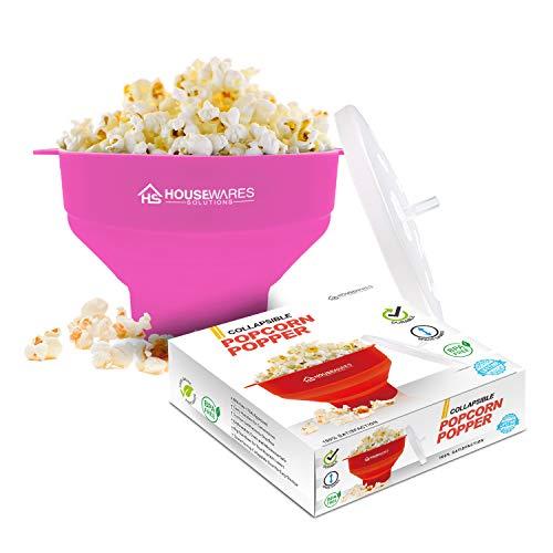 Cuenco plegable de silicona para palomitas de maíz de aire caliente de microondas con tapa y asas (Pink)
