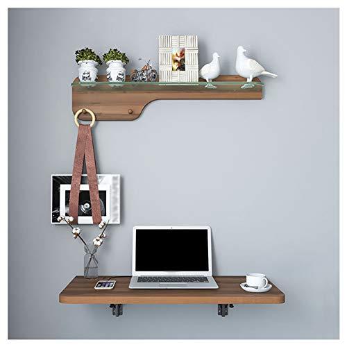 Escritorio pared con estante, mesa plegable computadora invisible de madera maciza con cable orificio, banco trabajo que ahorra espacio para dormitorio sala de estudio y oficina,Natural color,80x40cm