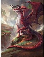 PQGHJ パズル1000ピースジグソーパズル大人用パズルセット家族用-赤い恐竜木製パズルゲームチャレンジパズル子供用子供用-50X75Cm