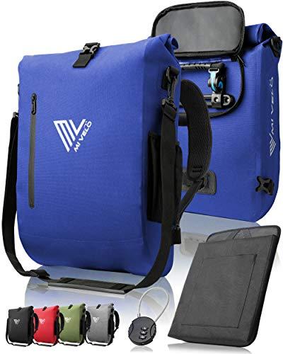 MIVELO - 3 in 1 Fahrradtasche - Rucksack - Schultertasche wasserdicht, mit Laptopfach, für Fahrrad Gepäckträger Aller Art (Blau, 20L)
