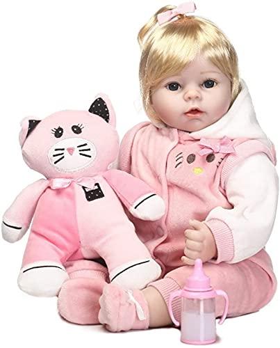 DFGBXCAW Silicona Cuerpo de algodón Reborn Baby Doll Girl 55Cm Hecho a Mano Artificial Acrílico Ojos Ojos Abiertos Muñeca recién Nacida Juguetes para niños