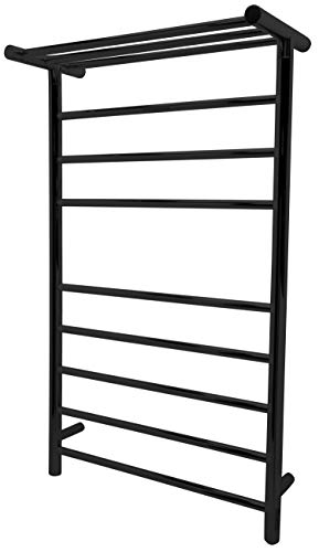 ANZZI Eve Modern 8-Bar Wall Mounted Towel Warmer with Top Shelf in Black | Energy Efficient 93W Electric Plug in Heated Towel Rack for Bathroom | Towel Heater Rail with On/Off Switch | TW-AZ012BK