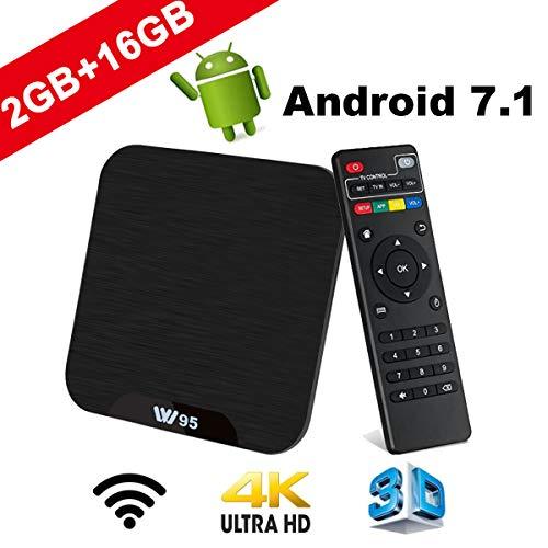TV Box Android 7.1 - VIDEN W2 Smart TV Box Dernière Amlogic Quad-Core, 2Go RAM & 16Go ROM, 4K UHD H.265, USB, HDMI, WiFi Lecteur Multimédia pour Divertissement à Domicile
