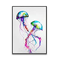 ZNLEY.O 水彩画と動物ライオン孔雀イーグル象の壁アートキャンバスポスタープリント画像家のリビングルーム装飾絵画 (Color : 2, Size : 60x90cm(No Frame))