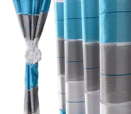 Halbtransparent Ösenvorhang Ösenschal Schal Dekoschal für Fenster Dekorative Gardine Farben Streifen 2er Set Vorhänge mit Ösen 145x245 cm AGV (V14)