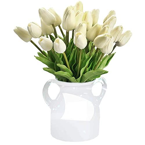 Künstliche Blumen ,Unechte Blumen Tulpe Deko Blumen Gefälschte Blumen Blumenstrauß Seide Tulpe Wirkliches Berührungsgefühlen, Braut Hochzeitsblumenstrauß für Haus Party Dekoration10 Stück (Milchweiß)