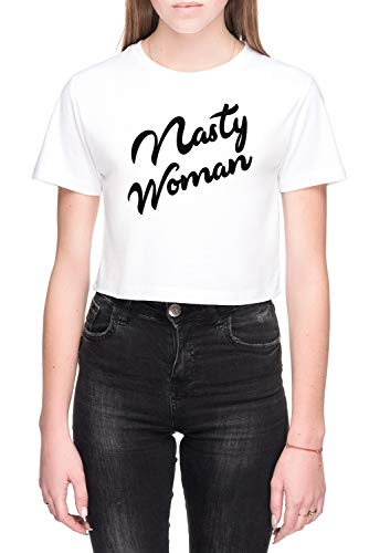 Nasty Woman Damen Bauchfreies Crop T-Shirt Weiß Größe S - Women's Crop T-Shirt White