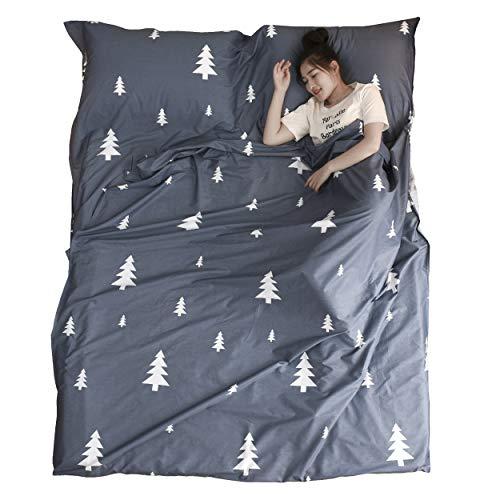 Azarxis Saco de Dormir Ligero Algodón Sábana de Viaje Limpio Bolsa de Dormir para Camping Viajar Hoteles (Azul, S - 80×210 cm)