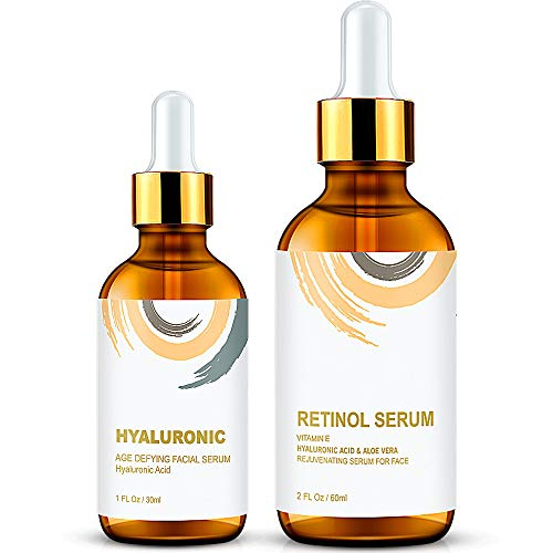Wumal Facial Serum Combo Pack - Retinol Serum, Hyaluronic Acid Serum - Natural & Organic Anti Aging Formula for All Skin - Fragrance Free WUMAL