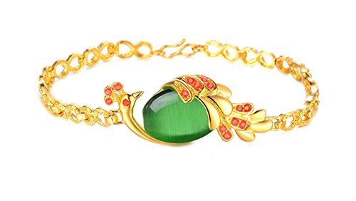 AnazoZ Schmuck Damen Armband Gold 18K Vergoldet Achat Stein Pfau Armreif Gold