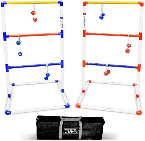 Dr. Sport - Juego de golf de doble escalera, bolas de golf de color azul y rojo, en bolsa, resistente juego de golf de carga