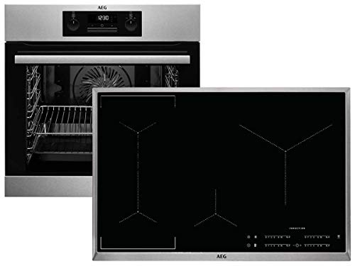 AEG BPB336-1 Set Pyrolyse Backofen BPB331020M + Induktionskochfeld IKE84441XB Pyrolytische Selbstreinigung inkl. Teleskopauszug TR1LFV Hob²Hood-Funktion