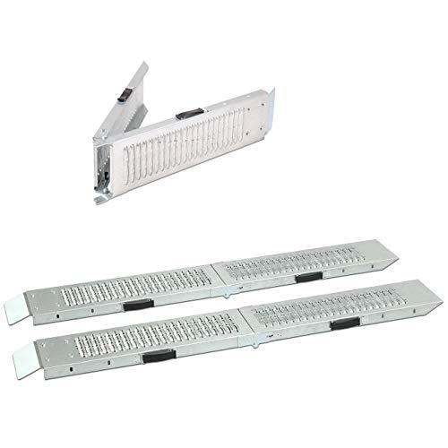 maxVitalis Klappbare Auffahrrampe, Laderampe, 2 Auffahrschienen, bis 400 kg belastbar, praktischer Tragegriff, verzinkter Stahl, 160 x 22,5 x 9 cm, Silber