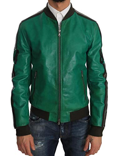 Dolce & Gabbana - Herren Jacke - Green Leather 84 Motive Bomber Jacket Size: IT48/M