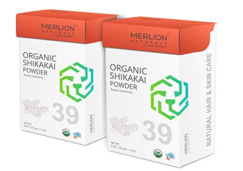 MERLION NATURALS Organic Shikakai Powder | Acacia Concinna | USDA NOP Certified 100% Organic | Vegan | Excellent Hair Conditioner (16 OZ (2 Pack of 8 OZ))
