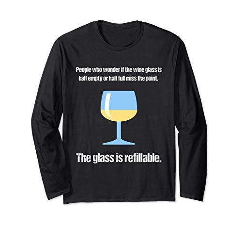 Leute, die fragen, ob der Wein-Glas halb leer Langarmshirt
