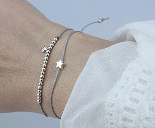 SCHOSCHON Damen Symbol Armband Set Stern/Zirkonia 925 Silber Silber-Grau // Geschenkidee Frauen Textilarmband Freundschaftsarmband Firmung Konfirmation Muttertag