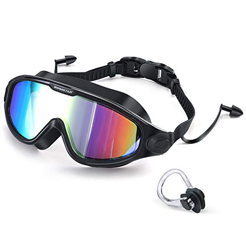 2020 Newest Swim Goggles with Ear Plugs, 100% UV Protection No Leaking Anti Fog Swimming Glasses for Women Men and Youth, Colorful Coating Clear Vision Unisex Adult Waterproof Water Goggles Black