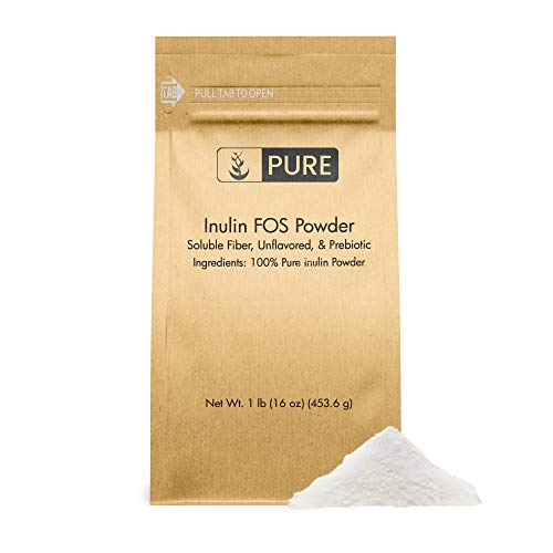 100% Pure Inulin FOS Powder, 1 lb, 2600 mg Serving, Unflavored, Made from Jerusalem Artichoke, Non-GMO, Gluten-Free, Vegan, No Fillers, Made in USA, Lab-Tested, Eco-Friendly Packaging