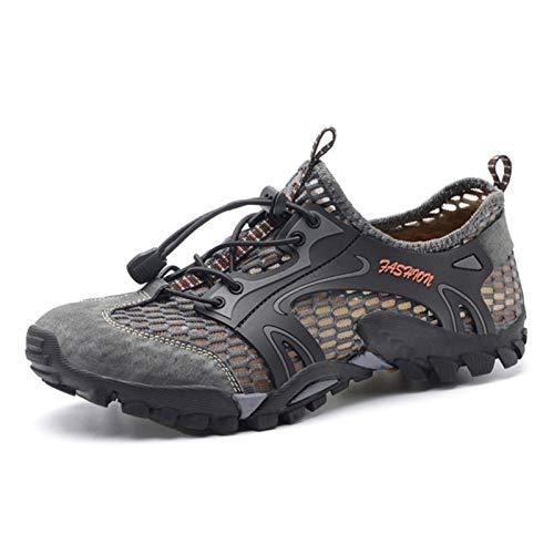 TTKK TENGKEJPN Summer Breathable Men Hiking Shoes Mesh Outdoor Men Sneakers Climbing Trekking Shoes Men Sport Shoes Quick-Dry Water Shoes (Color : Gray, Size : 46 M EU)
