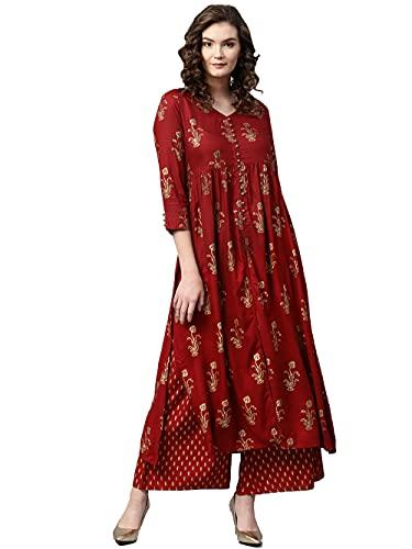 MJRN Kurta Set für Frauen mit Palazzo Indische Designer Partywear Kurti Set Kleider Tops Tunika Gr. X-Large, Kastanienbraun 2