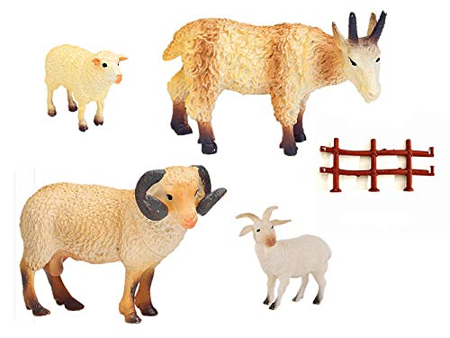YUCAN Farm Animals Figures Toys Sheep Goats with Corral Fence Toys Playset, Cake Top, Safari Party Supplies, Perfect for Gift