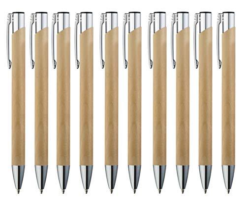 10 Stück Bambus Kugelschreiber Set Premium Kulli hochwertig, nachhaltig, ergonomisch, blauschreibend und aus Holz von StillRich Industries