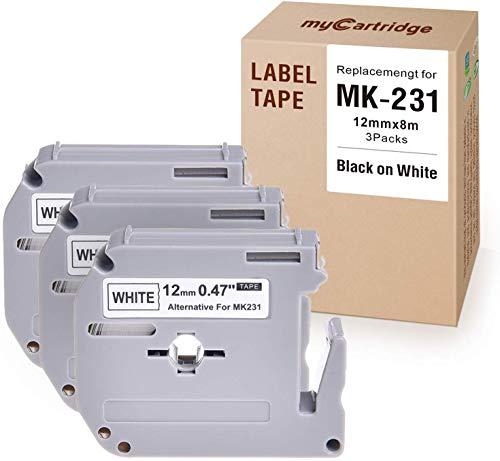 myCartridge Compatible with Brother mk231 M-K231 M231 Label Tape 3 Pack (Black On White 0.47 in x 26.2 Ft) Fit for P-Touch Pt-90 PT-M95 PTM95M Pt-70Sr Pt-80 Label Maker