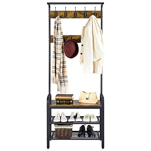 YAHEETECH 3 in 1 Entryway Hall Tree, Coat Rack Shoe Bench, Hall Tree Entryway Storage Shelf, Wood Accent Furniture, Metal Frame, Rustic Brown