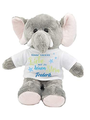 Kilala Sternenkinder Erinnerung Elefant mit Namen Sternkind Andenken Trost Schutzengel mit Spruch Fehlgeburt Geschenk (Blau)
