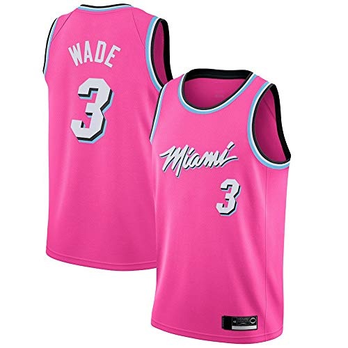 LYY Jerseys De Baloncesto para Hombres, Miami Heat # 3 Dwyane Wade, NBA Baloncesto Casual Sportswear Foot Tops Chalecos Camiseta Sin Mangas,Rosado,M(170~175CM)