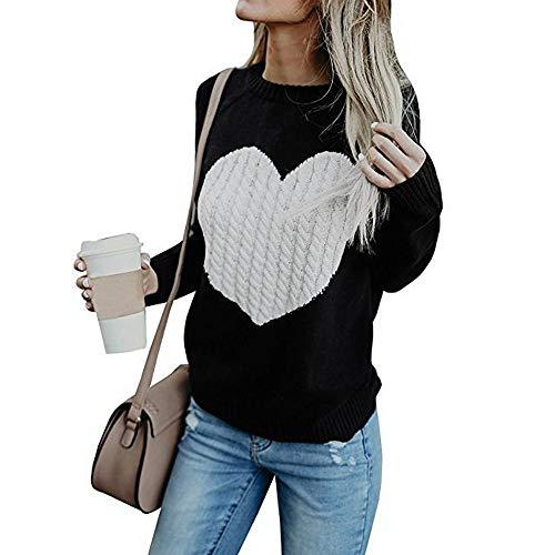 Sudadera de Mujer Básica Knit Love Suéter Moda O-Cuello Otoño Invierno de Gran tamaño Chaqueta de Deporte de los Deportes Manga Larga Irregular Jerséis riou