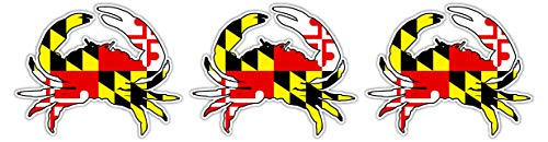 3 Pack | Maryland Crab State Flag Hard Hat Label | Bike Sticker | Motorcycle Decal | Lunchbox, Toolbox Sticker Decal 3' x 2.5'