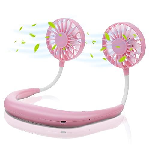Tvird Tragbarer Ventilator,USB Ventilator Sportfan Mini Lüfter Reiselüfter Wiederaufladbarer Nackenlüfter,Mini Faul Hals Hängender Fan 360 ° Verstellbarer Hands-Free Fan(Rosa)