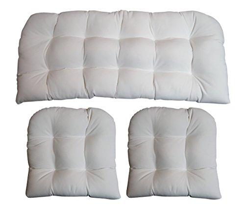 "RSH DECOR Sunbrella Canvas White Large (44"" x 22"" loveseat Cushion and 21"" x 21"" U seat Cushions) 3 Piece Wicker Cushion Set - Indoor/Outdoor Wicker Loveseat Settee & 2 Matching Chair Cushions"